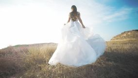 Τρέχοντας νύφη στο καταπληκτικό μακρύ φόρεμα μέσω του τοπίου φιλμ μικρού μήκους