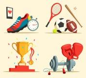 Τρέχοντας παπούτσια και ρόπαλο του μπέιζμπολ, ποδόσφαιρο, σφαίρα ράγκμπι διανυσματική απεικόνιση