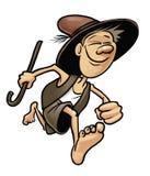 Τρέχοντας ποιμένας με το ραβδί και το καπέλο ελεύθερη απεικόνιση δικαιώματος