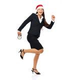 Τρέχοντας πρώην επιχειρησιακή γυναίκα Χριστουγέννων Στοκ Φωτογραφία