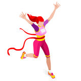 Τρέχοντας σύνολο εικονιδίων θερινών αγώνων αθλητισμού γυναικών νίκης Κερδίστε την έννοια Τρισδιάστατος Isometric Ολυμπιακών Αγώνω απεικόνιση αποθεμάτων