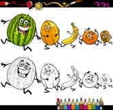 Τρέχοντας χρωματίζοντας σελίδα κινούμενων σχεδίων φρούτων Στοκ εικόνα με δικαίωμα ελεύθερης χρήσης