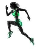 Τρέχοντας jogger jogging σκιαγραφία δρομέων γυναικών στοκ εικόνες