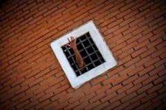 Τρέλα, απελπισία, χέρι του φυλακισμένου πίσω από τους φραγμούς, χρώμα Στοκ φωτογραφία με δικαίωμα ελεύθερης χρήσης