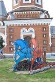 Τρία άλογα τρεξίματος που γίνονται στα ρωσικά χρώματα σημαιών Στοκ Εικόνα