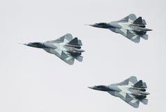 Τρία αεριωθούμενα αεροπλάνα PAK FA τ-50 στοκ φωτογραφίες