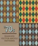 Τρία αναδρομικά σχέδια Argyle δεκαετία του '70-ύφους άνευ ραφής διανυσματική απεικόνιση
