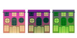 Τρία απομονωμένα σπίτια ιώδη χρώματα απεικόνιση αποθεμάτων