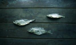 Τρία από τα αποξηραμένα ψάρια στοκ εικόνες