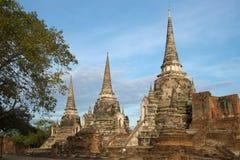 Τρία αρχαία stupas του βουδιστικού ναού του Si Sanphet Wat Phra στα ξημερώματα ayutthaya Ταϊλάνδη Στοκ φωτογραφίες με δικαίωμα ελεύθερης χρήσης