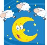 Τρία αστεία μετρώντας πρόβατα πέρα από ένα φεγγάρι ελεύθερη απεικόνιση δικαιώματος