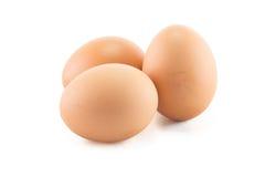 Τρία αυγά είναι απομονωμένα σε ένα άσπρο υπόβαθρο Στοκ Εικόνες