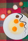 Τρία αυγά στο πιάτο Στοκ Εικόνες