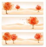 Τρία αφηρημένα εμβλήματα φθινοπώρου με τα ζωηρόχρωμα φύλλα και τα δέντρα Στοκ Εικόνες