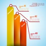 Τρία βέλη, χρήση για το infographics Μπορέστε να χρησιμοποιηθείτε για την παρουσίαση Στοκ Φωτογραφίες