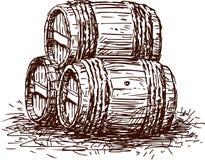 Τρία βαρέλια διανυσματική απεικόνιση