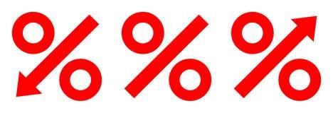 Τρία γραφικά τοις εκατό κοκκίνου βελών διανυσματική απεικόνιση