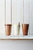Τρία γυαλιά των milkshakes στοκ εικόνες