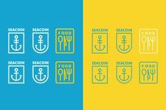 Τρία διανυσματικά λογότυπα της άγκυρας και των τροφίμων Στοκ Εικόνες