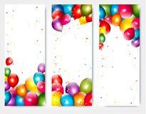 Τρία εμβλήματα γενεθλίων διακοπών με τα μπαλόνια Στοκ Εικόνες
