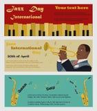 Τρία εμβλήματα για τη διεθνή ημέρα της Jazz με τα saxophones, το πιάνο και το μουσικό που το saxophone Στοκ φωτογραφία με δικαίωμα ελεύθερης χρήσης