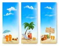 Τρία εμβλήματα θερινών διακοπών. Στοκ Φωτογραφίες