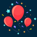 Τρία εορταστικά μπαλόνια Στοκ Εικόνες