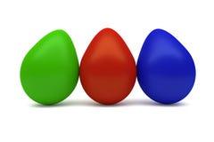 Τρία ζωηρόχρωμα αυγά Στοκ φωτογραφίες με δικαίωμα ελεύθερης χρήσης
