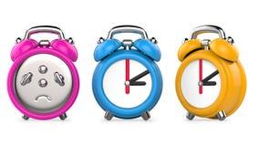 Τρία ζωηρόχρωμα, πορφυρά, μπλε, πορτοκαλιά ξυπνητήρια τρισδιάστατη απεικόνιση, που απομονώνεται στο άσπρο υπόβαθρο Στοκ Εικόνα