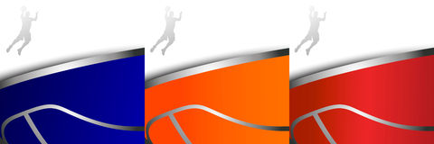 Τρία ζωηρόχρωμα υπόβαθρα καλαθοσφαίρισης απεικόνιση αποθεμάτων
