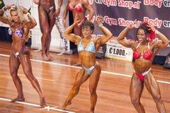 Τρία θηλυκά bodybuilders στους μπροστινούς διπλούς δικέφαλους μυς θέτουν και μπικίνι στοκ εικόνες με δικαίωμα ελεύθερης χρήσης