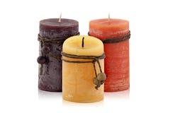 Τρία διακοσμητικά κεριά στοκ εικόνες