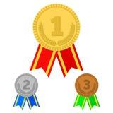 Τρία διανυσματικά μετάλλια Στοκ Εικόνα