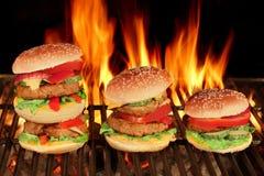Τρία διαφορετικά σπιτικά Cheeseburgers XXL BBQ που φλέγεται GR Στοκ Φωτογραφία