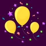 Τρία κίτρινα μπαλόνια Στοκ Φωτογραφία