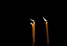 Τρία καίγοντας κεριά Στοκ εικόνες με δικαίωμα ελεύθερης χρήσης