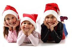 Τρία κατσίκια στα καλύμματα Χριστουγέννων Στοκ εικόνες με δικαίωμα ελεύθερης χρήσης