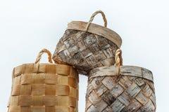 Τρία καλάθια από το φλοιό σημύδων χειροποίητο Στοκ Φωτογραφίες