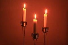 Τρία κεριά πυρκαγιάς Στοκ Φωτογραφίες