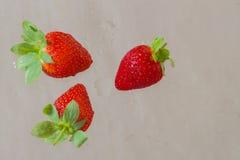 Τρία κομμάτια των φωτεινών ώριμων φραουλών στο αφηρημένο υπόβαθρο Για το σύγχρονο σχέδιο, το σχέδιο ταπετσαριών ή εμβλημάτων, τοπ Στοκ Εικόνα