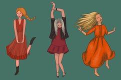 Τρία κορίτσια στα κόκκινα φορέματα χορεύουν διανυσματική απεικόνιση