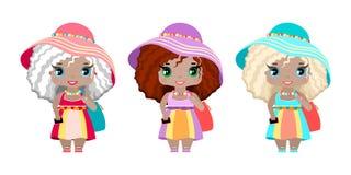 τρία κορίτσια στα φορέματα θερινών παραλιών, sundresses, τα καπέλα, τις τσάντες παραλιών, clogs και ένα τηλέφωνο διανυσματική απεικόνιση