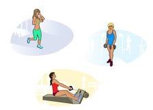 Τρία κορίτσια στη γυμναστική Στοκ εικόνες με δικαίωμα ελεύθερης χρήσης