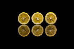 Τρία κόβουν τα λεμόνια στο μαύρο υπόβαθρο Στοκ Εικόνες