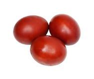 Τρία κόκκινα αυγά Πάσχας Στοκ Φωτογραφία