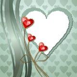 Τρία κόκκινα καρδιές και έγγραφο διαμαντιών Στοκ Εικόνα