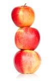Τρία κόκκινα συσσωρευμένα μήλα Στοκ εικόνα με δικαίωμα ελεύθερης χρήσης