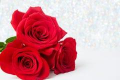 Τρία κόκκινα τριαντάφυλλα με το υπόβαθρο boke διάστημα αντιγράφων - έννοια ημέρας βαλεντίνων και γυναικών μητέρων 8 Μαρτίου στοκ φωτογραφίες