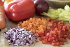 Τρία λαχανικά που χωρίζονται σε τετράγωνα Στοκ εικόνα με δικαίωμα ελεύθερης χρήσης