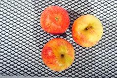 Τρία μήλα στο πλέγμα μετάλλων στοκ εικόνες